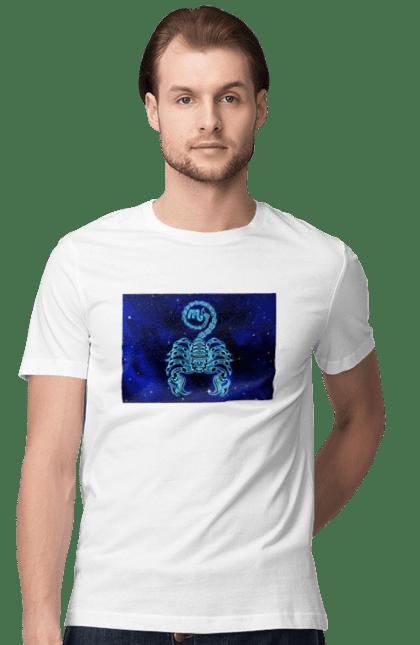 Футболка чоловіча з принтом Скорпіон Знак Зодіаку. Астрологія, астрономія, доля, знак зодіаку, знаки зодіаку, зодіак, передбачення, символ, синій, скорпіон, цикл. CustomPrint.market