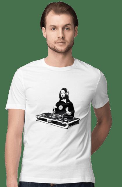 Футболка чоловіча з принтом Мона Діджей. Діджей, мона лізу, музика, пластинки. CustomPrint.market