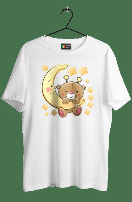 Футболка чоловіча з принтом Ведмедик на місяці. Зірка, медвеженок, місяць, сон, спати. Sector