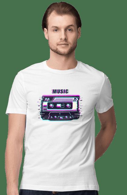 Футболка чоловіча з принтом Касета Музика. Касета, музика, ретро. CustomPrint.market