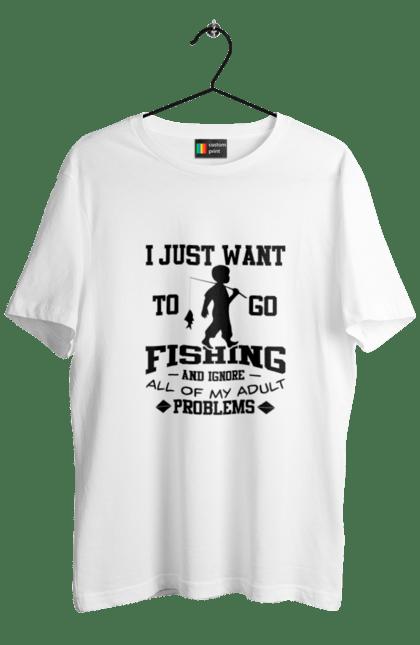 Футболка чоловіча з принтом День Рибалки Я Просто Йду На Риболовлю. Видпочинок, день, рибалка, риболовля, розваги, рыбаки, рыбалка, спорт, хобби.
