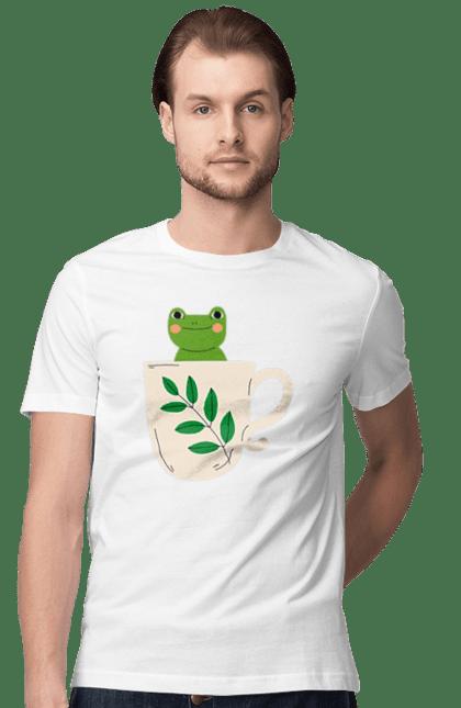 Футболка чоловіча з принтом Жабка в чашці. Жаба, зима, кава, осінь, чай, чашка. BlackLine