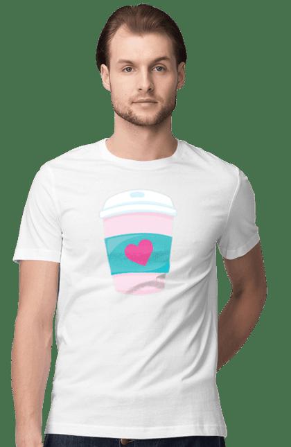 Футболка чоловіча з принтом Чашка латте рожева. 14 лютого, день валентина, день закоханих, кави, латте, рожева, сердечко, чашка. BlackLine