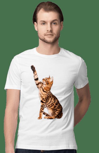 Футболка чоловіча з принтом Кішка Леопард. Кішка, тварина. BlackLine