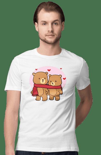 Футболка чоловіча з принтом Закохані ведмедики в шарфику. Ведмедики, закохані, кохання, шарф. Sector