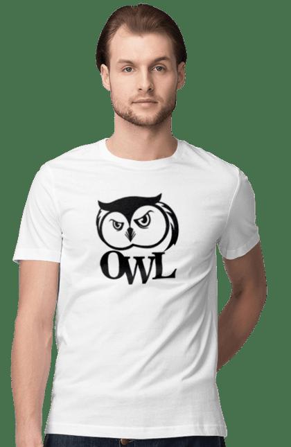 Футболка чоловіча з принтом Owl Bird (Sorokina). Погляд, погляд сови, птиця, сова. CustomPrint.market