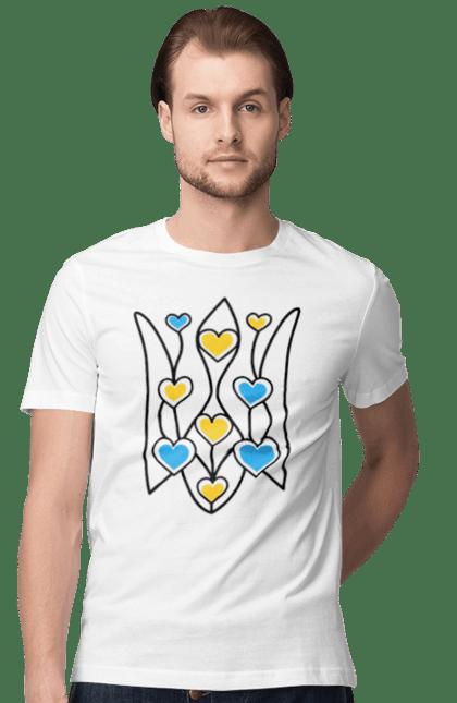 Футболка чоловіча з принтом тризуб сердечка. Герб, сердечка, україна. CustomPrint.market