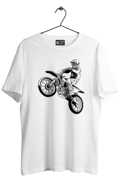 Футболка чоловіча з принтом Питбайк. Мотоцикл, мотоцикліст, питбайк. CustomPrint.market
