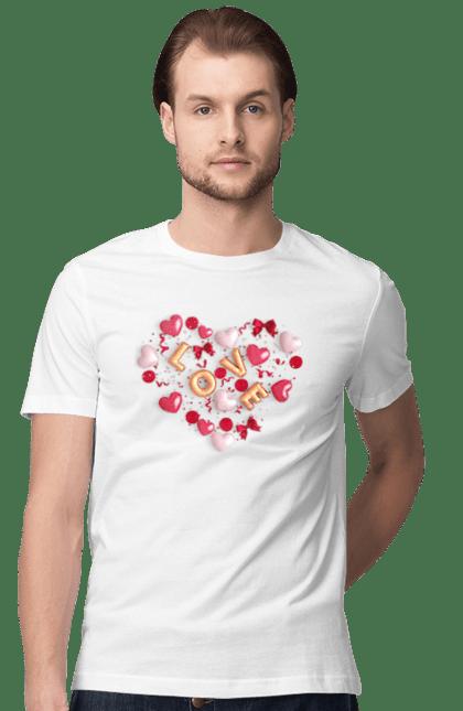 Футболка чоловіча з принтом Любов Серце Кульки. День святого валентина, кохання, кульки, серце. BlackLine