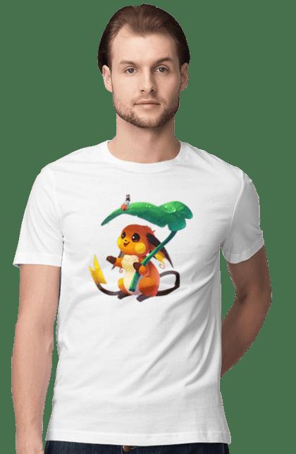 Футболка чоловіча з принтом Покемон під листком. Дощ, листочок, пікачу, покемон. BlackLine