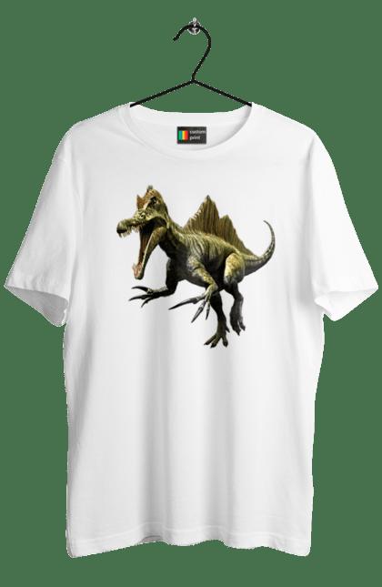 Футболка чоловіча з принтом Динозавр Атакує. Атакує, барионикс, біжить, величезний, викопний, голова, динозавр, зуби, коггті, нападає, небезпечний, парк, пащу, спинозавр, тірекс, хижак, щелепи, юрський. CustomPrint.market
