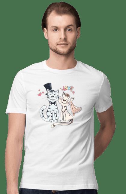 Футболка чоловіча з принтом Котяче весілля, любов. Весілля, кіт, кішка, котяча весілля, кохання. Sector
