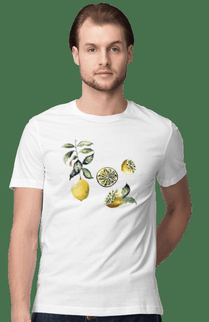 Футболка чоловіча з принтом Лимон Акварельний. Вітамін с, кислий, лимон, цитрус. CustomPrint.market
