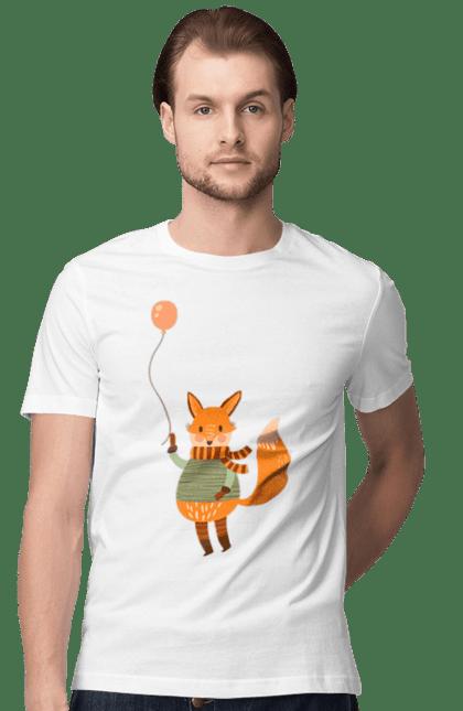 Футболка чоловіча з принтом Лисиця з повітряною кулькою. Лисиць, лисиця, осінь, повітряну кульку, холод, шарфик. Sector