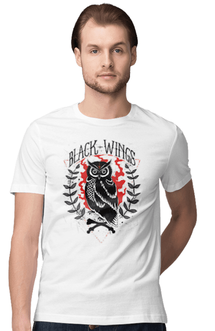 Футболка чоловіча з принтом Чорні крила. Крила, сова, чорні.