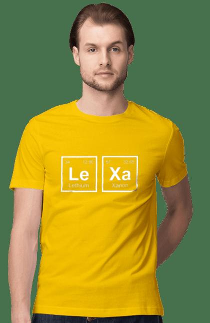 Футболка чоловіча з принтом Леха Ханон. Lethium, імена, ксанон, олексій. BlackLine