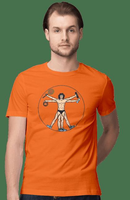 Футболка чоловіча з принтом Картина Леонардо, Зсж. Вода, картина, м'яч, спорт. BlackLine