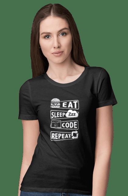 Футболка жіноча з принтом Їжа, Сон, Код, Повторити, Програміст Білий. День програміста, їжа, код, програміст, сон. BlackLine