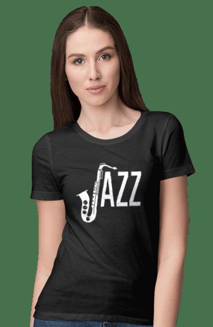 Футболка жіноча з принтом Джаз, Білий. Джаз, музика. BlackLine