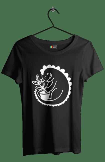 Футболка жіноча з принтом Білий Дракоша З Квіткою CustomPrint.market