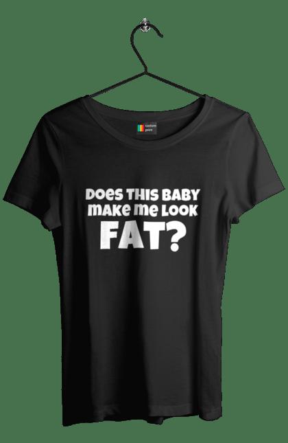 Футболка жіноча з принтом Does this baby make me look. Вагітна, вагітність, дитина, для вагітних. BlackLine