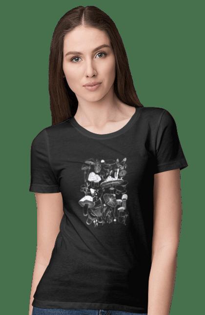 Футболка жіноча з принтом Білі Гриби. Гриб, гриби, грибник, мухомор, осінь. CustomPrint.market