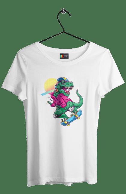 Футболка жіноча з принтом Динозавр В Навушниках І На Скейті CustomPrint.market