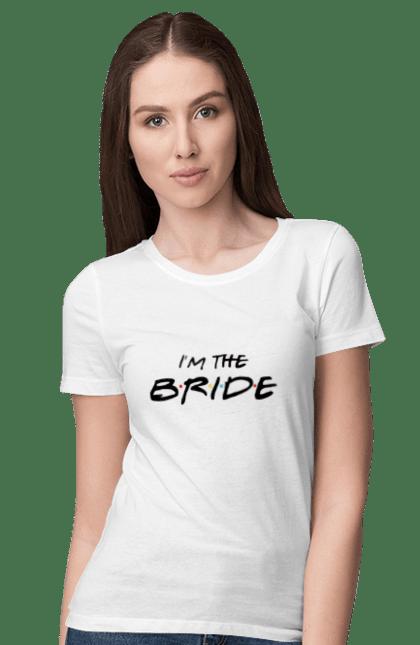 Футболка жіноча з принтом Bride Friends Black. Весілля, дівич-вечір, наречена, пропозиція, запрошення, речення.
