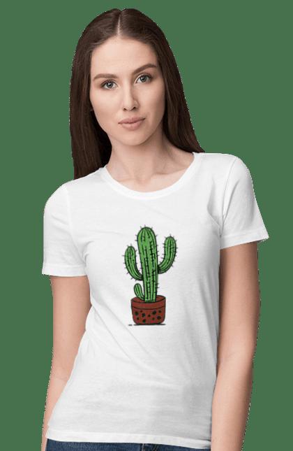 Футболка жіноча з принтом Зелений Кактус. Кактус, фарби. BlackLine