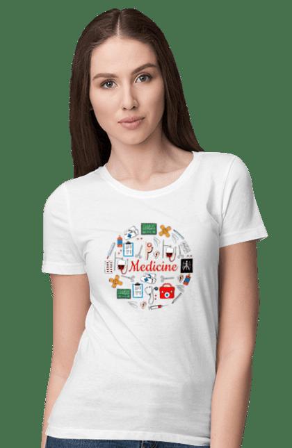 Футболка жіноча з принтом Медицина І Лікування. Лікування, медицина, укол. BlackLine