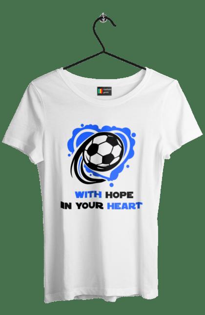 Футболка жіноча з принтом Футбол в серці синій. Футбол. BlackLine