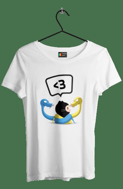 Футболка жіноча з принтом Язик Третього Покоління, Програміст. День програміста, змія, покоління, програміст, язик. BlackLine