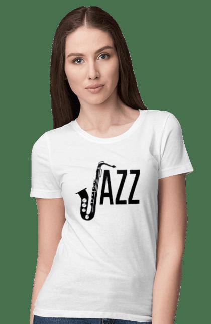 Футболка жіноча з принтом Джаз, Чорний. Джаз, музика. BlackLine