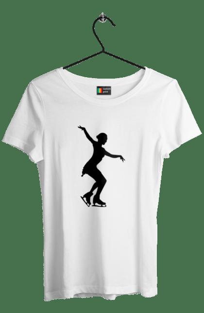 Футболка жіноча з принтом Силует Дівчини На Ковзанах BlackLine