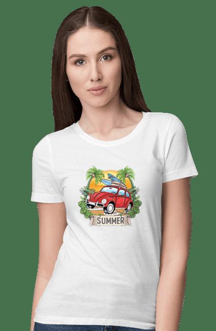 Футболка жіноча з принтом Літо, Машина І Пальми