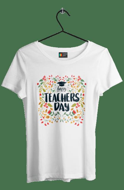 Футболка жіноча з принтом Щасливий День Учителя, Квіти. День учителя, знання, навчання, учитель. BlackLine