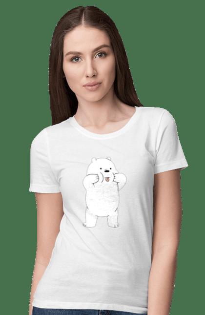Футболка жіноча з принтом Ведмідь Показує Язика. Ведмідь, мова. BlackLine