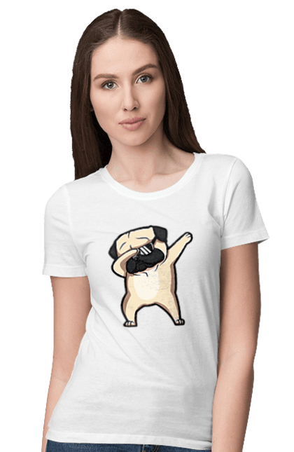Футболка жіноча з принтом Мопс деб. Деб, мопс, окуляри, собака, собачка. BlackLine
