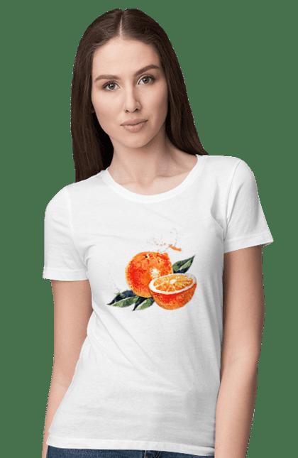 Футболка жіноча з принтом Помаранчевий Апельсин. Апельсин, помаранчевий апельсин, фрукт, цитрус. CustomPrint.market