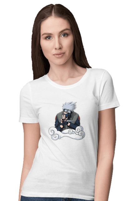 Футболка жіноча з принтом Какаши. Аниме, итачи, Какаши, подарок, саске. CustomPrint.market