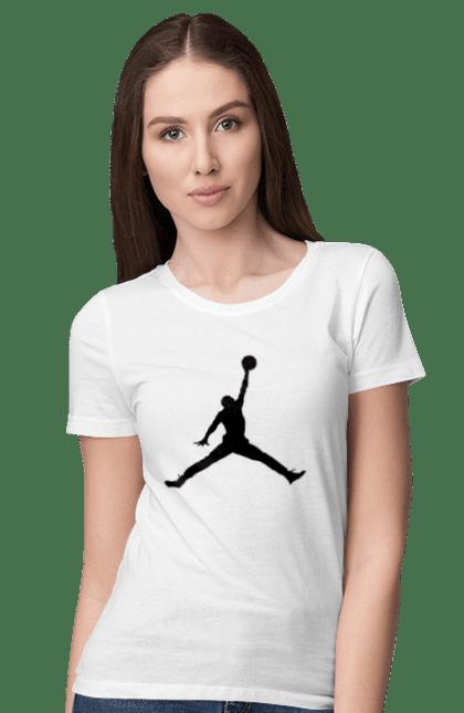 Футболка жіноча з принтом Jordan. Jordan, бренд, гра, джордан. BlackLine