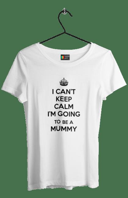 Футболка жіноча з принтом Keep Calm To be a mummy. Вагітна, вагітність, дитина, для вагітних. BlackLine