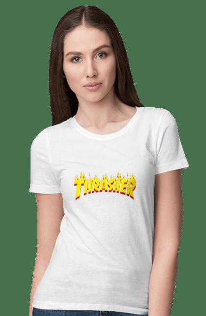 Футболка жіноча з принтом Thrasher. Thrasher, бренд, позитив. BlackLine
