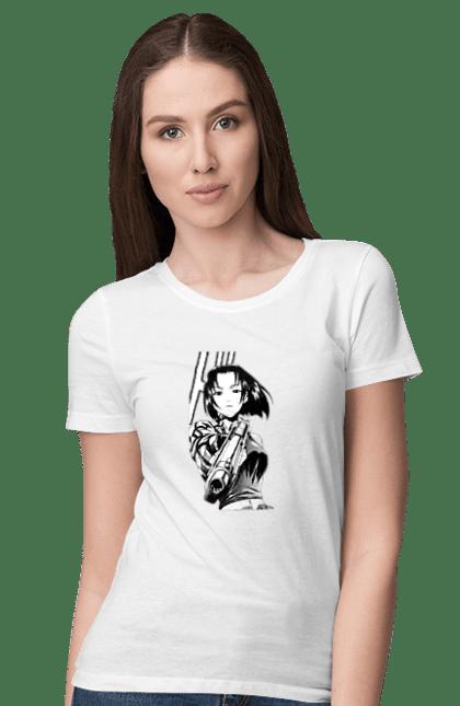 Футболка жіноча з принтом Аніме З Пістолетом. Аніме, дівчинка, пістолет. CustomPrint.market