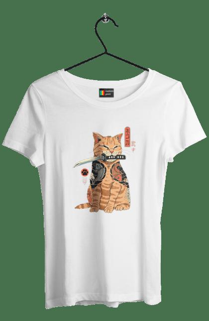 Футболка жіноча з принтом Кот Самурай. Кіт, ніж, самурай, тварина. CustomPrint.market