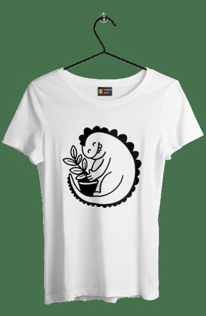 Футболка жіноча з принтом Чорний Дракоша З Квіткою CustomPrint.market