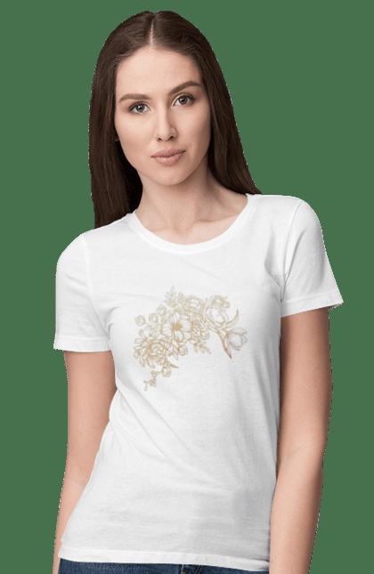 Футболка жіноча з принтом Золотистые Цветы. Візерунок, квіти, квітка. BlackLine