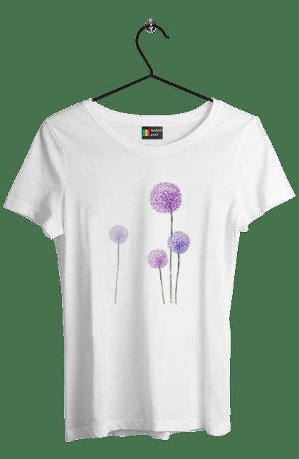 Футболка жіноча з принтом Фіолетові Кульбаби. Квітка, кульбаба, кульбаби. BlackLine