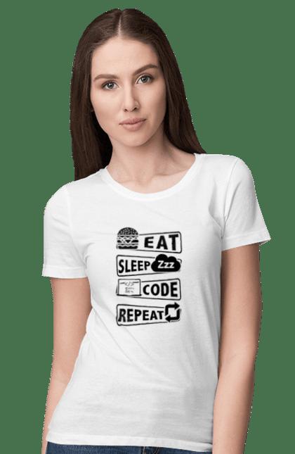 Футболка жіноча з принтом Їжа, Сон, Код, Повторити, Програміст Чорний. День програміста, їжа, код, програміст, сон. BlackLine