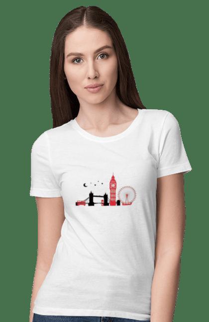Футболка жіноча з принтом Чорно Червоний Лондон. Колесо, лондон, міст, місто. BlackLine